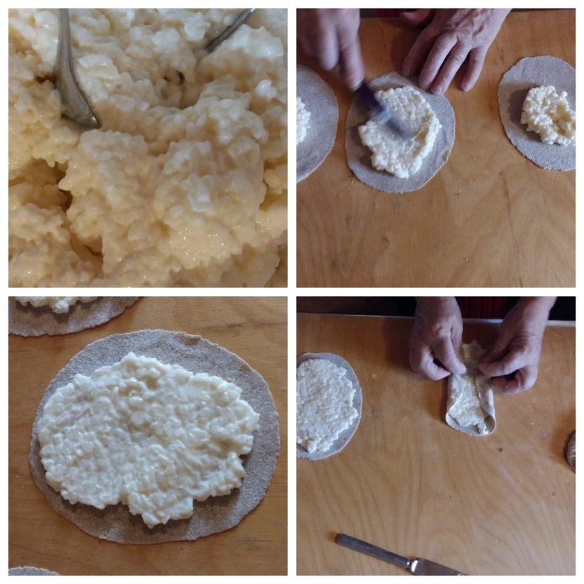 Auf den ausgerollten Ovalen wird die Füllung verteilt. Reisbrei ist der Klassiker, aber auch Kartoffelbreifüllung schmeckt köstlich.